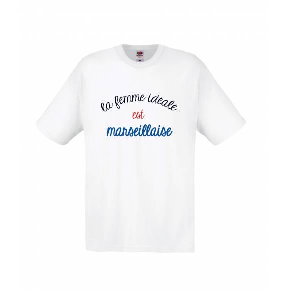 TEE-SHIRT FEMME LA FEMME IDEALE EST MARSEILLAISE