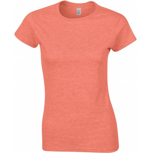 TEE-SHIRT FEMME COL ROND ORANGE PALE